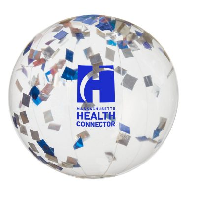 "16"" Blue and Silver Confetti Filled Round Clear Beach Ball"