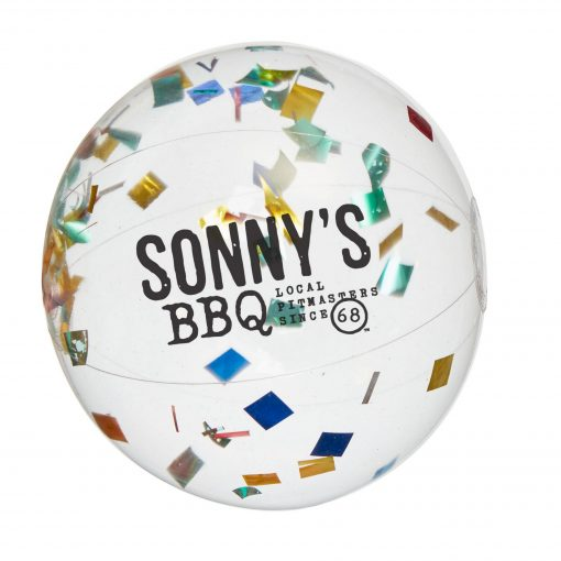 "16"" Multi Color Confetti Filled Round Clear Beach Ball"