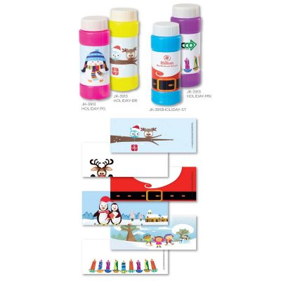 2 Oz. Bubbles with Stock Holiday/Winter Theme Full-Color Digital Label