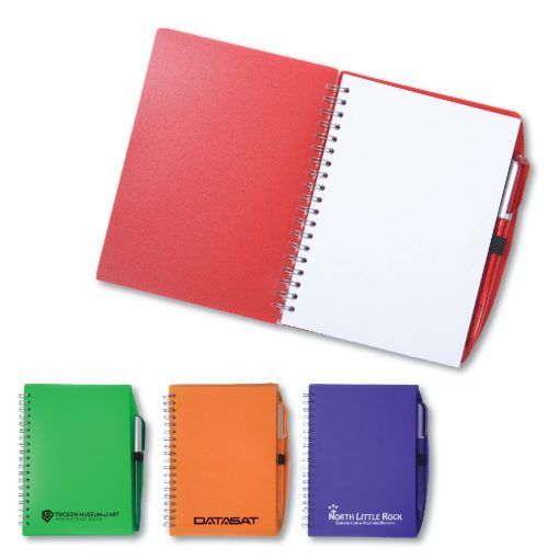 "5-3/4"" x 7"" Color-Pro Spiral Unlined Notebook with Pen"