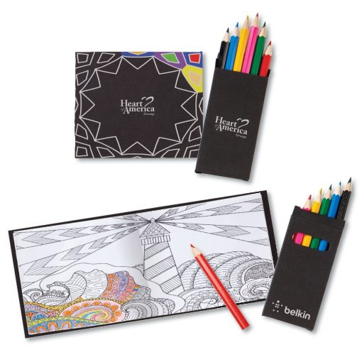 Black Cover Adult Coloring Book & 6-Color Pencil Set To-Go