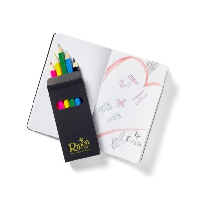 Black Mini Notebook & 6-Color Pencil Set