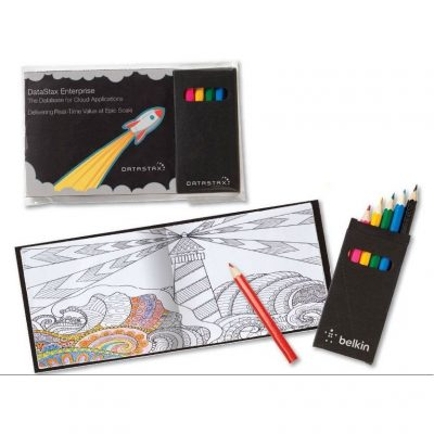 Custom Black Cover Adult Coloring Book & 6-Color Pencil Set To-Go