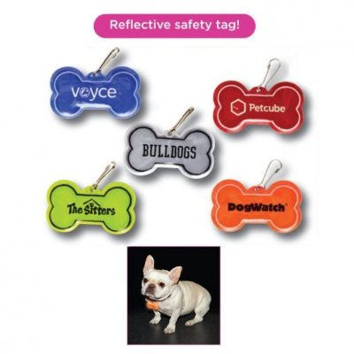 Dog Bone Shape Reflective Safety Collar Tag