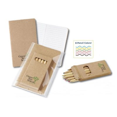 Eco-Recycled Budget Mini Notebook & 6 Color Pencil Set