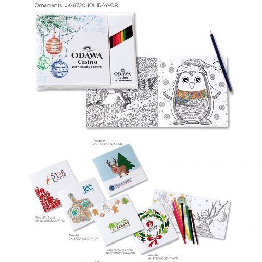"""Holiday Theme Deluxe 7"""" x 7"""" Adult Coloring Book & 8-Color Pencil Set"""