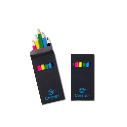 Six-Color Wooden Pencil Set in Black Box