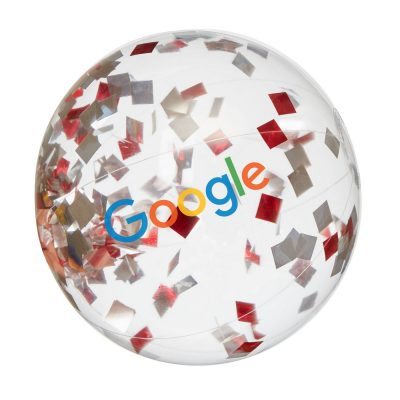 "16"" Red and Silver Confetti Filled Round Clear Beach Ball"