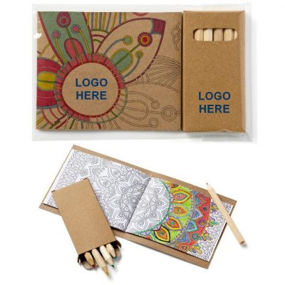 Adult Coloring Book & 6-Color Pencil Set To-Go