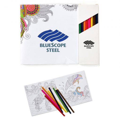 """Deluxe 7"""" x 7"""" Adult Coloring Book & 8-Color Pencil Set"""