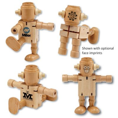 RoboDroidBot Poseable Wooden Robot Fidget Toy