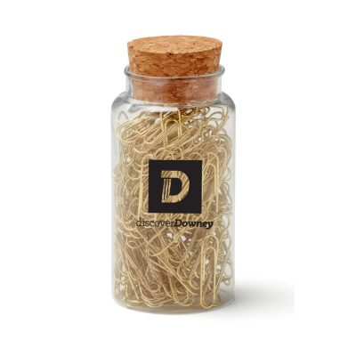Gold Paperclips in Jar