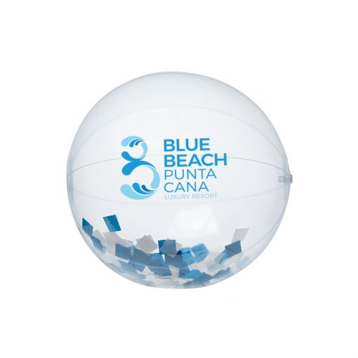 """16"""" Blue and White Confetti Filled Round Clear Beach Ball"""