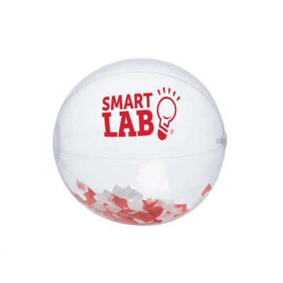 "16"" Red and White Confetti Filled Round Clear Beach Ball"