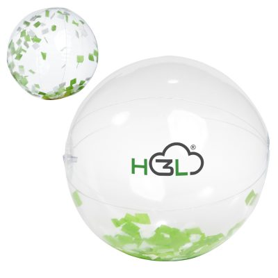 "16"" Green and White Confetti Filled Round Clear Beach Ball"