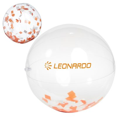 "16"" Orange and White Confetti Filled Round Clear Beach Ball"