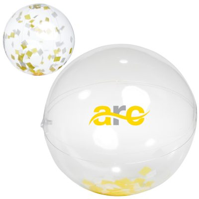 "16"" Yellow and White Confetti Filled Round Clear Beach Ball"